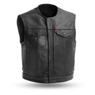 Mens FIM659CPM Lowside Leather  M/C Vest by First Mfg