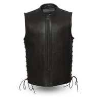 Mens FIM638CPM Venom Leather  M/C Vest by First Mfg