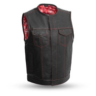 Mens FIM636CDM Bandit Leather  M/C Vest by First Mfg