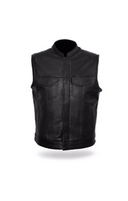 Mens FIM689NOC Sharp Shooter  Leather  M/C Vest by First Mfg