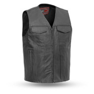 Mens FIM617CSL Badlands Leather  M/C Vest by First Mfg
