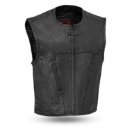 Mens FIM647CDM Raceway Leather Swat M/C Vest by First Mfg