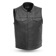 Mens FMM690BSF Blaster Leather  M/C Vest by First Mfg