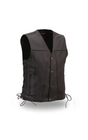 Mens FIM618CFD Gambler Leather  M/C Vest by First Mfg