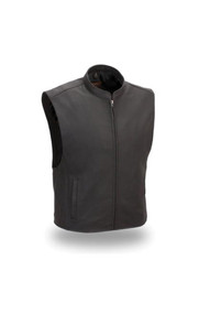Mens  FIM656CSL Club House Leather  M/C Vest by First Mfg