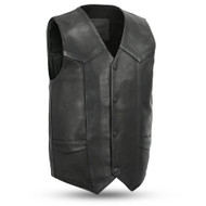 Mens FIM658CPM Tombstone  Leather  M/C Vest by First Mfg