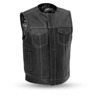 Mens FIM658CPM(B/W) Bandit   Leather  M/C Vest by First Mfg