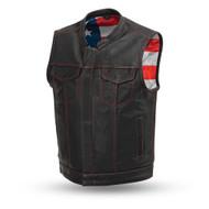 Mens FIM684CDM Born Free   Leather  M/C Vest by First Mfg