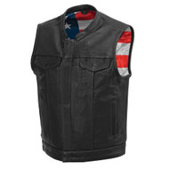 Mens FIM683CDM(BS) Born Free   Leather  M/C Vest by First Mfg