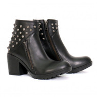 "Hot Leathers Ladies 5"" Studded Ankle Boot with Side Zippers"