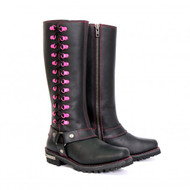 "Hot Leathers Ladies 14"" Knee High Harness Boot with Side Zipper"