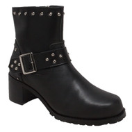 "8811M Women's 8"" Heeled Buckle Biker Boot"