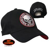 Hot Leathers Live Free Ride Hardcore Skull Baseball Cap