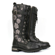 Hot Leathers Knee High Wild Roses Ladies Leather Boots