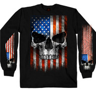 Hot Leathers Patriotic Skull Long Sleeve Shirt