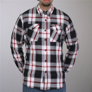Hot Leathers Black White and Red Flannel Long Sleeve
