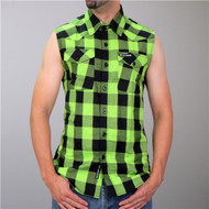 Hot Leathers Black & Green Sleeveless Flannel Shirt