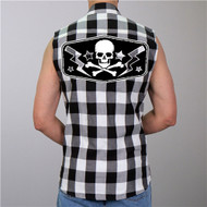 Hot Leathers Flannel Skull Bolts Vest