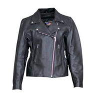 Ladies Analine Cowhide Motorcycle Jacket