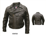 Men's Vented Leather Motorcycle Jacket