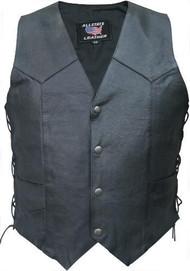 Allstate Leather Men's Basic Biker Vest with Sidelaces
