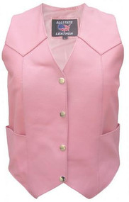 Allstate Leather Ladies Pink Basic Plain Vest