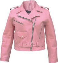 Basic Full Cut Ladies Pink Motorcycle Jacket