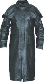 Lightweight Buffalo Leather Duster with Removable Cape
