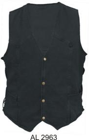 Men's Black Denim Vest with side laces