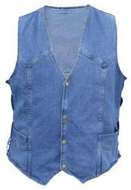 Men's Blue Denim Vest with side laces