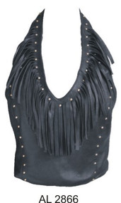 Ladies Lambskin  top with fringes & studs