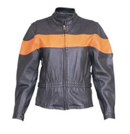Allstate Leather Ladies Orange Striped Jacket