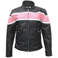 Two tone Pink on Black Ladies Leather Biker Jacket