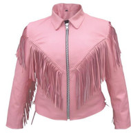 Allstate Leather Ladies Fringed Pink Motorcycle Jacket
