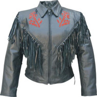 Allstate Leather Ladies Red Rose Jacket with Fringes