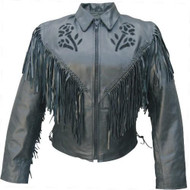 Allstate Leather Ladies fringed Black Rose Jacket