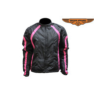Ladies Pink Striped Textile/Leather Racer Jacket
