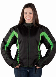 Ladies Green StripedTextile Racer Jacket