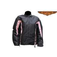 Ladies Black and Pale Pink Textile Racer Jacket
