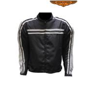 Dream Apparel Mens Gray on Black Textile Motorcycle Jacket