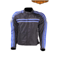 Mens Blue on Black Mesh & Nylon Motorcycle Jacket