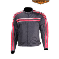 Dream Apparel Mens Red on Blk Textile Motorcycle Jacket