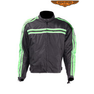 Dream Apparel Mens Green on Black Textile Motorcycle Jacket