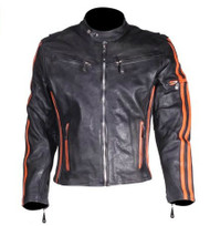 Mens Leather Racer Jacket w/ Orange Stripes