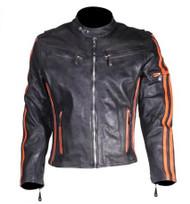 Dream Apparel Mens Leather Racer Jacket w/ Orange Stripes