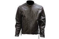 Mens Retro Brown Racer Jacket Airvent w/ Z/O Lining