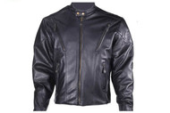 Mens Black Cowhide Racer Jacket w/ Airvent Front & Back