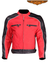 Dream Apparel Mens Naked Cowhide Leather Black and Red Jacket