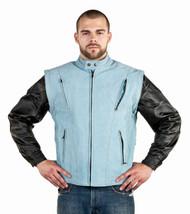 Mens Genuine Leather w/ Denim Look Racer Jacket