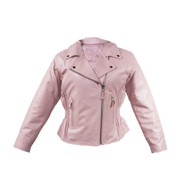 Ladies Heavy Duty Soft Leather Pink Jacket w/ Braid